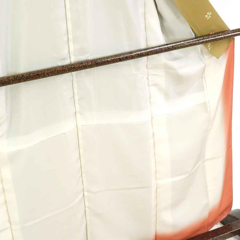 リサイクル着物 小紋 / 正絹グリーン地桜柄袷小紋着物未使用品 レディース 秋冬春用 シルク グリーン 裄Mサイズ身丈161cm 裄65cm 前幅23.5cm 後幅29cm 袖丈48cm【ランクS】