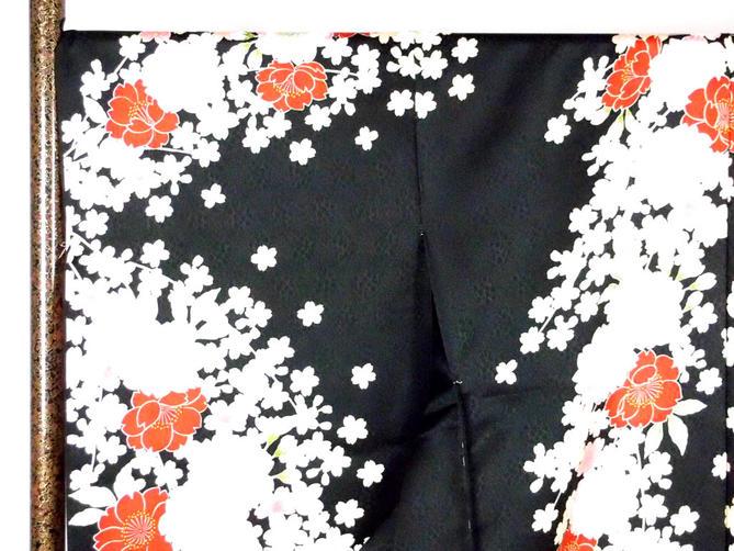 正絹逸品振袖フルセット/黒地に桜柄逸品フルオーダー別誂え仕立振袖19点フルセット【新品】