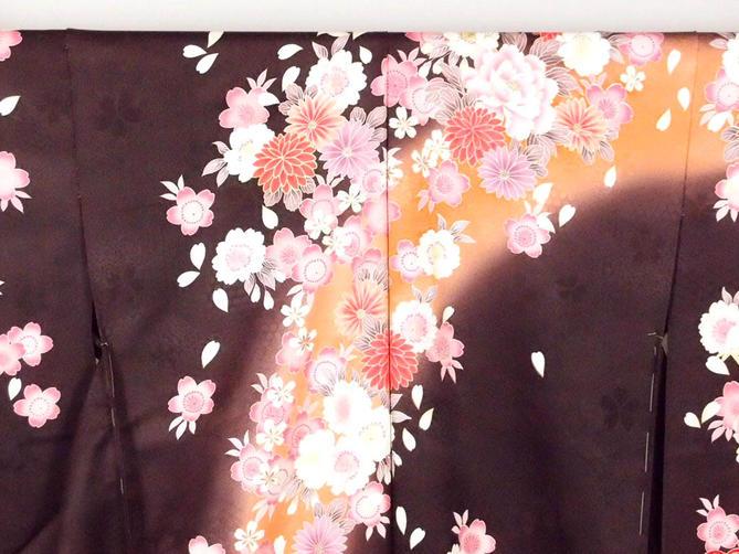 正絹逸品振袖フルセット/焦茶ぼかし花柄フルオーダー別誂え仕立振袖19点フルセット【新品】