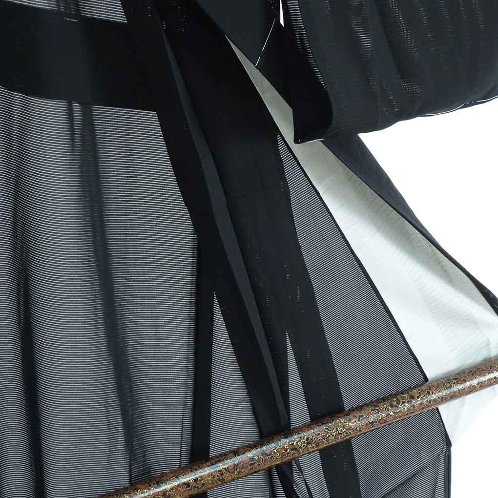 リサイクル着物 喪服 / 正絹夏物絽五三の桐紋入黒紋付(喪服)未使用品 レディース 夏用 シルク ブラック 裄Mサイズ身丈160cm 裄65cm 前幅28.5cm 後幅32.5cm 袖丈49cm【ランクS】