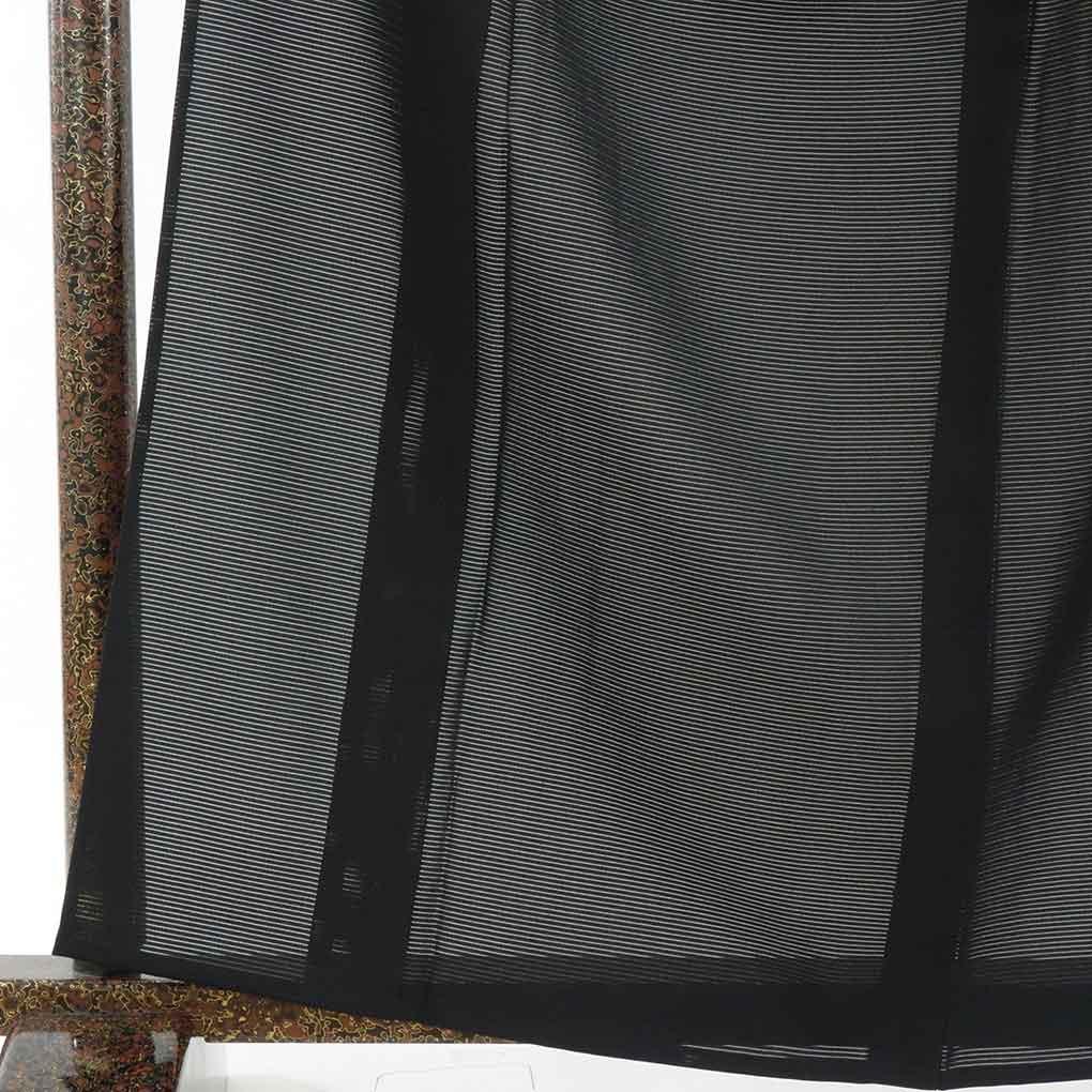 リサイクル着物 喪服 / 正絹重ね扇紋入夏物絽黒紋付着物(喪服)未使用品 レディース 夏用 シルク ブラック 裄Mサイズ トールサイズ身丈165cm 裄65cm 前幅26cm 後幅31cm 袖丈49cm【ランクS】