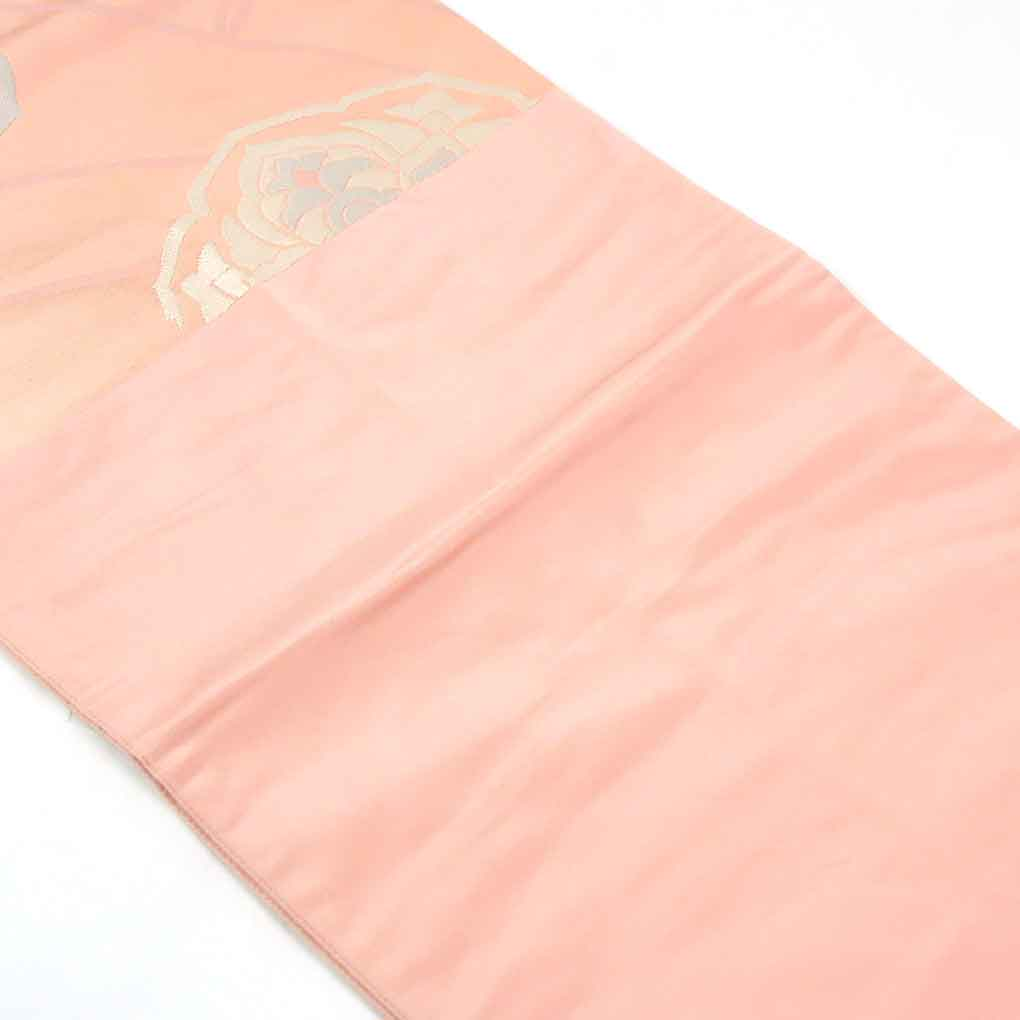 リサイクル帯 袋帯 / 正絹ピンク地六通柄袋帯 レディース 秋冬春用 シルク ピンク フリーサイズ幅30.5cm 長さ417cm【ランクA】
