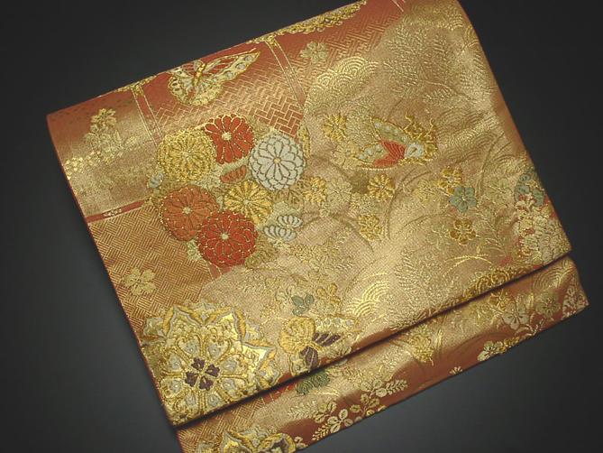 正絹袋帯 朱色地に花模様【!】【新品】