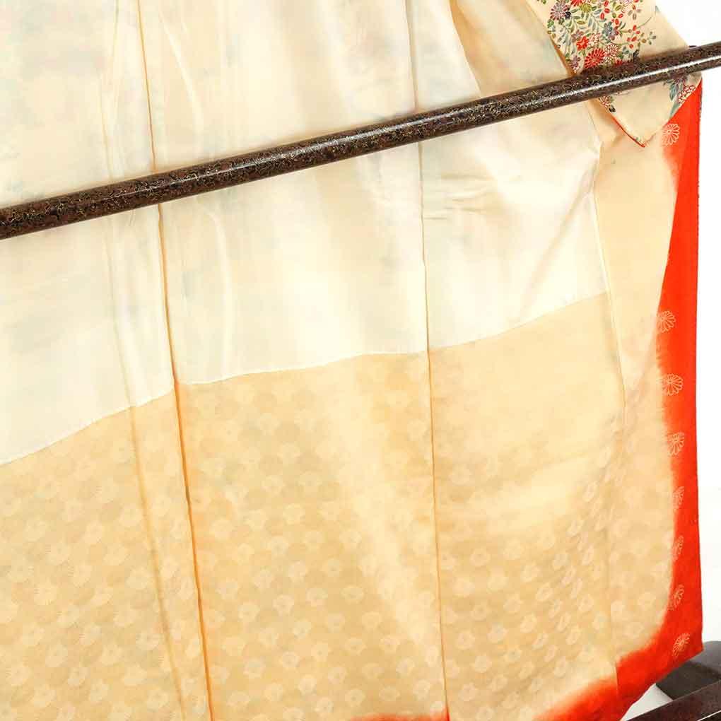 リサイクル着物 小紋 / 正絹薄茶地花柄袷小紋着物 レディース 秋冬春用 シルク ブラウン 裄Mサイズ身丈160cm 裄63cm 前幅23cm 後幅29cm 袖丈50cm【ランクA】