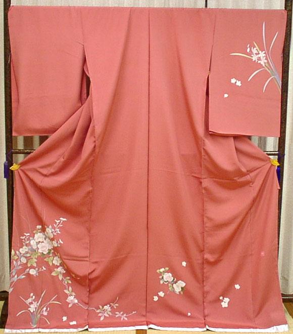 正絹訪問着シックな大人ピンクに四季の花【新品】
