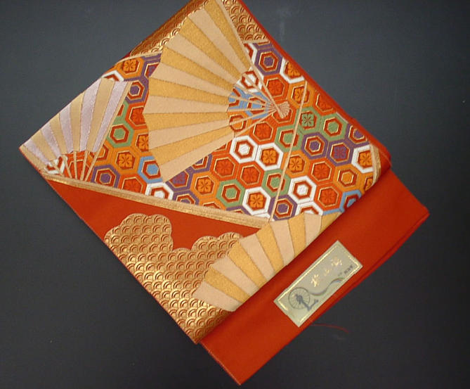 赤地に扇面の振袖用袋帯【!】【新品】