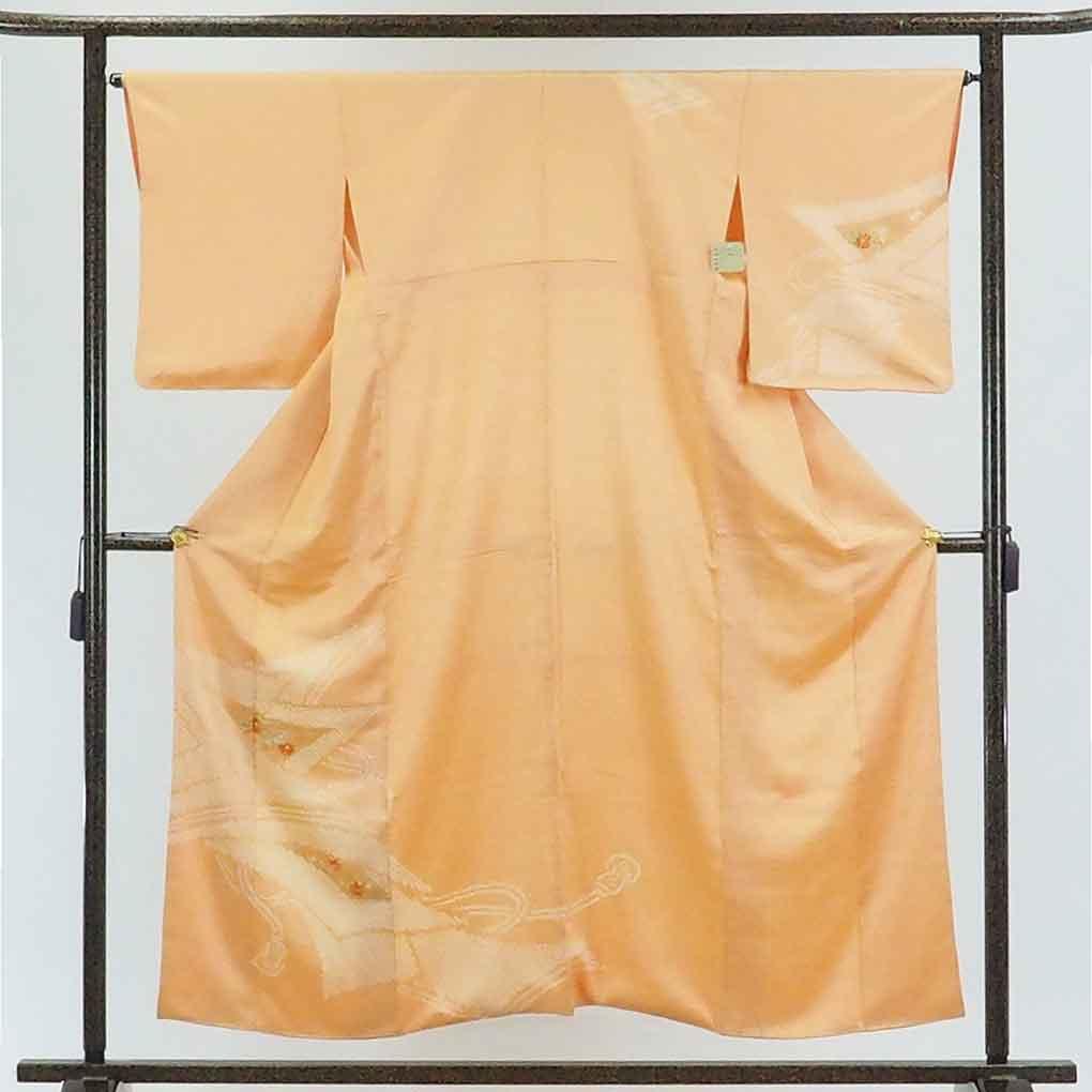リサイクル着物 訪問着 / 正絹オレンジ地絞り袷訪問着着物 レディース 秋冬春用 シルク オレンジ 裄Mサイズ身丈156cm 裄65cm 前幅22cm 後幅28cm 袖丈52cm【ランクA】