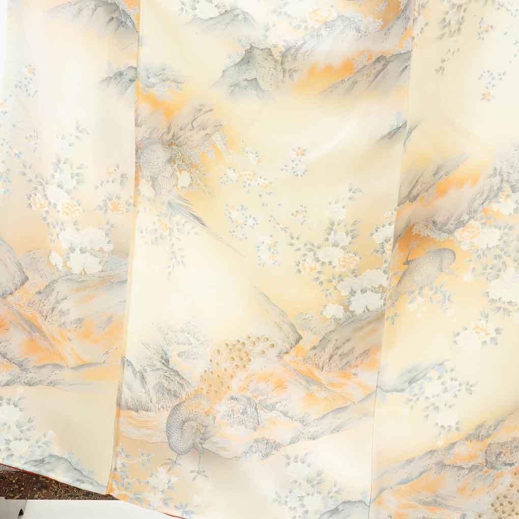 リサイクル着物 小紋 / 正絹薄オレンジぼかし袷小紋着物未使用品 レディース 秋冬春用 シルク オレンジ 裄Lサイズ身丈164cm 裄67cm 前幅26cm 後幅30cm 袖丈48cm【ランクS】