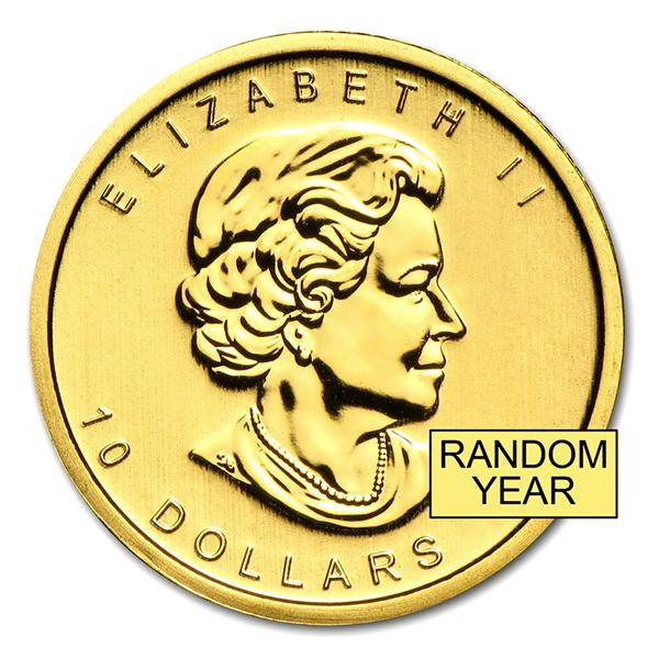 メイプル金貨 1/4オンス クリアケース入り  カナダ王室造幣局発行 (ランダム・イヤー) 保証書付き