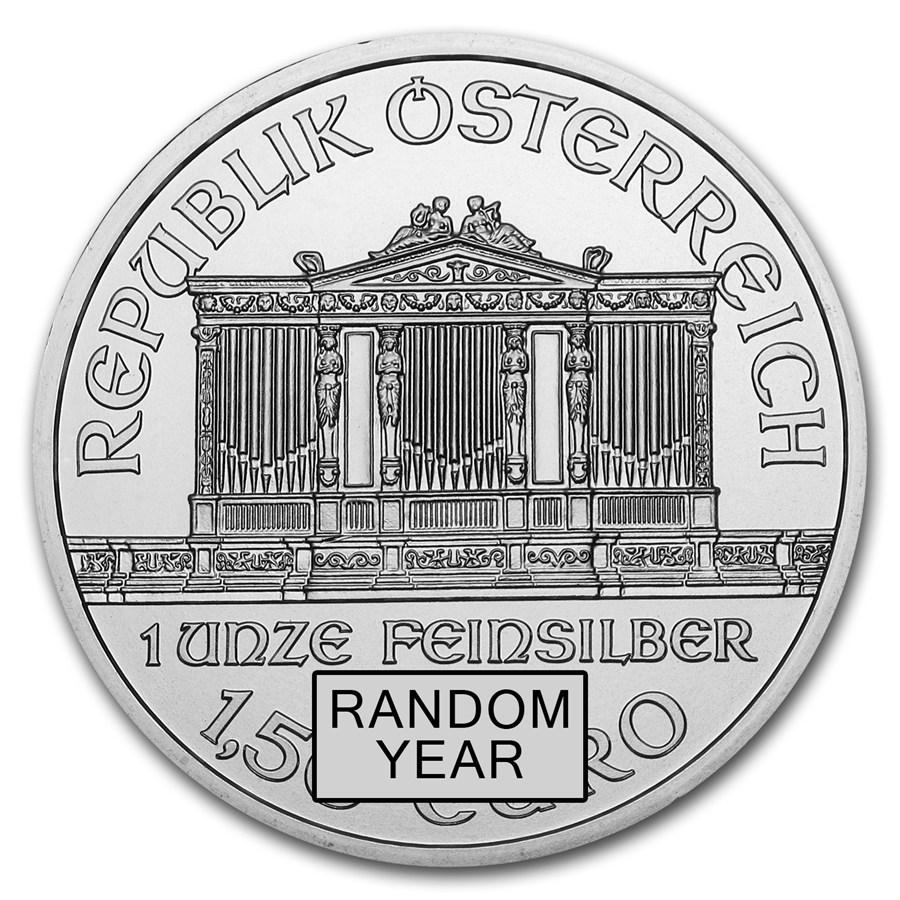 ウィーン銀貨 1オンス  ランダム・イヤー 純銀の公式銀貨 オーストリア造幣局発行 保証書付き