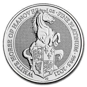 英国 クイーンズビースト ホワイトホースプラチナコイン 1オンス 2021年製