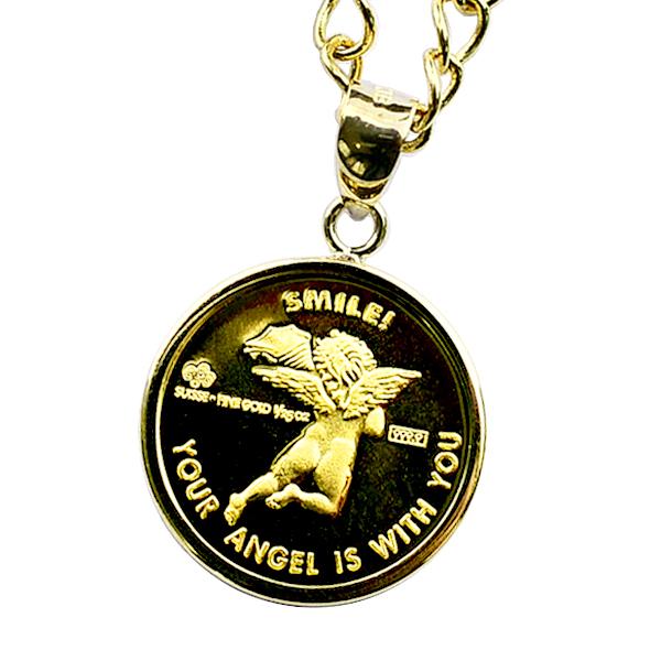 エンジェル金貨 1/25オンス 伏込枠ペンダント スイス・パンプ社発行 ネックレス 〈チェーン45cm 〉 保証書付き