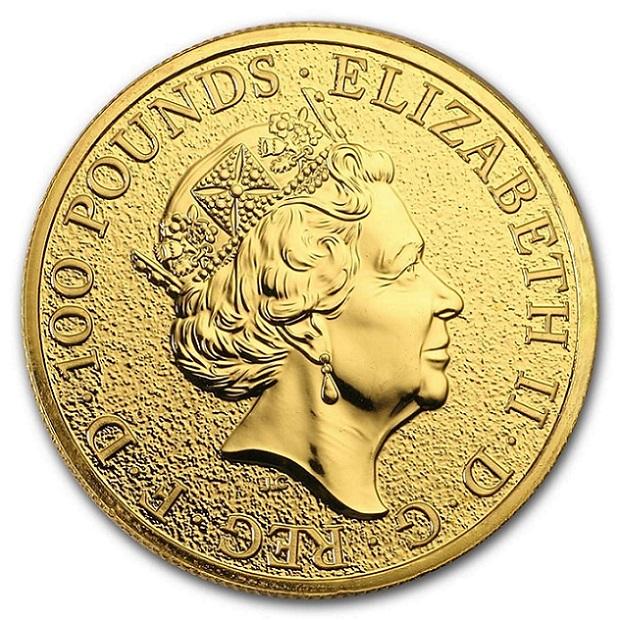 英国 クイーンズビースト レッドドラゴン金貨 1オンスス 2017年 クリアケース入り イギリス王立造幣局発行 7.77gの純金 24金 品位:K24 (99.99%) ゴールド コイン エリザベス女王