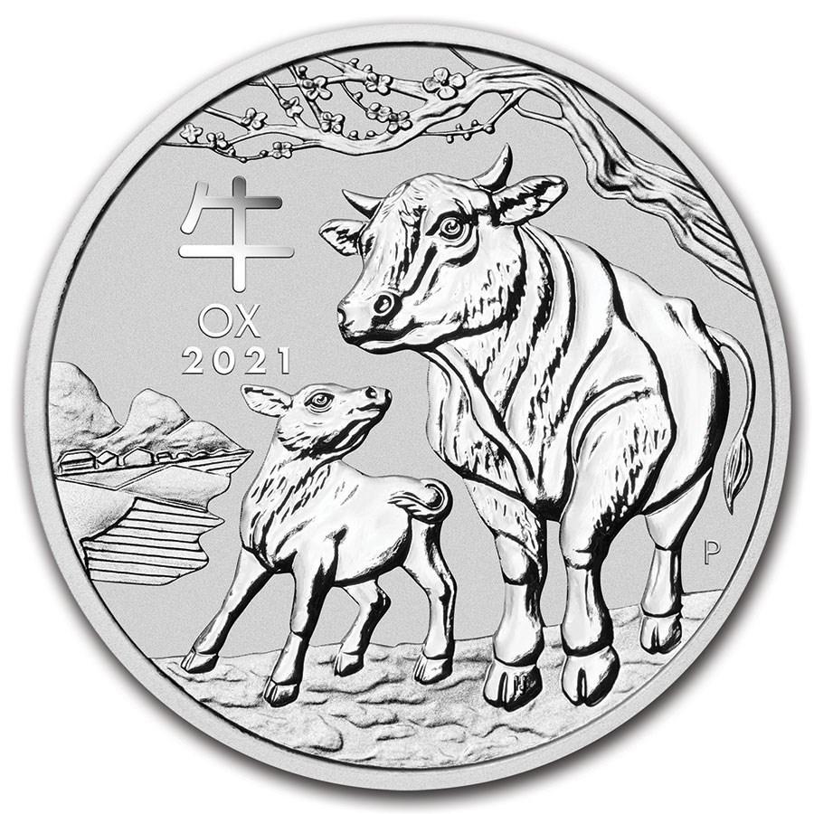 干支丑銀貨 1オンス クリアケース入り 2021年製 オーストラリアパース造幣局発行