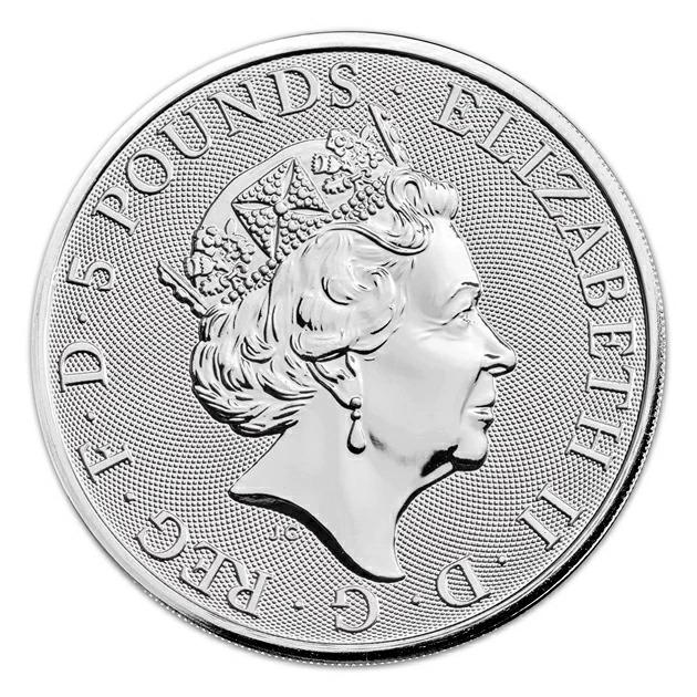 英国 クイーンズビースト ホワイトグレイハンド銀貨 2オンス