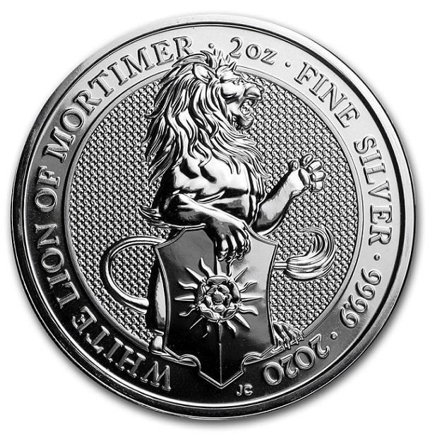 英国 クイーンズビースト ホワイトライオン銀貨 2オンス イギリス王立造幣局発行 保証書付き