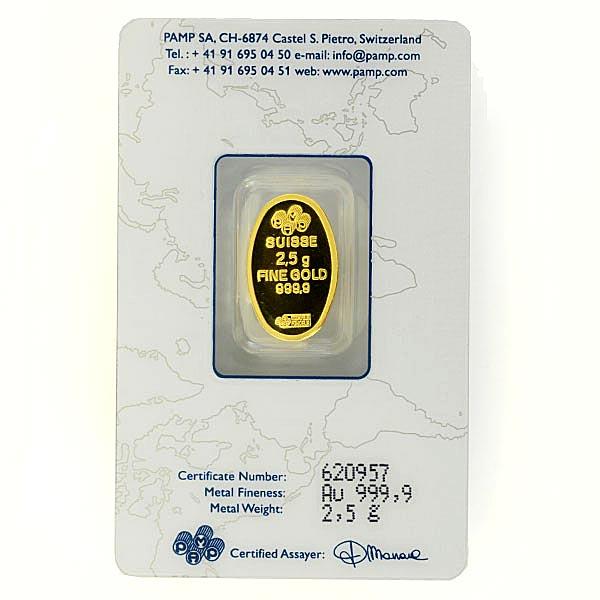 マリア金貨 2.5g 楕円 ブリスターパック入り スイス・パンプ社発行 保証書付き