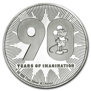 ミッキーマウス 誕生90周年記念銀貨 1オンス クリアケース入り 2018年製