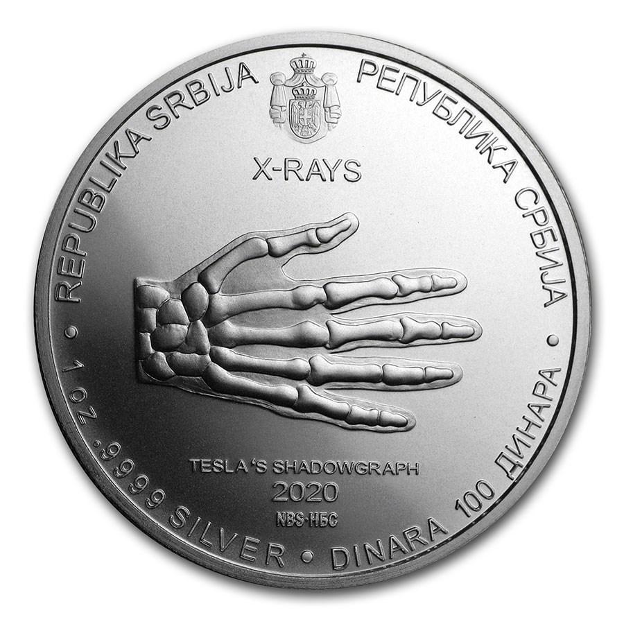 ニコラ・テスラ X線銀貨 1オンス クリアケース入り 2020年製 セルビア発行 保証書付き