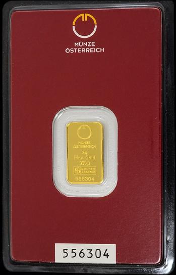 オーストリア ミント キネバー ゴールドバー 2g オーストリア造幣局発行