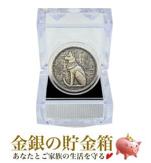 ☆ギフト☆ エジプト 猫の女神バステト銀貨 1/2オンス クリアケース入り