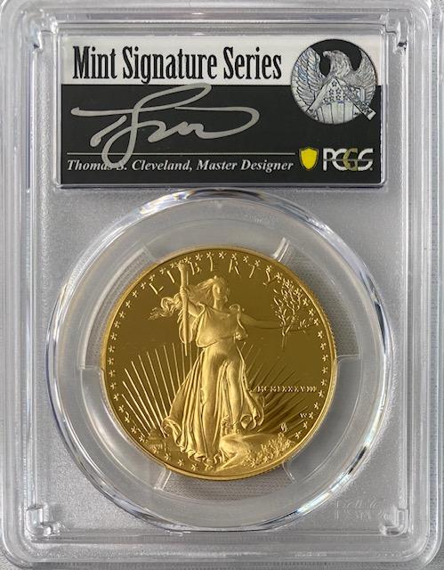 【動画あり】アメリカ50ドル金貨 ゴールドイーグル 1988-W年 $50PCGS PR70DCAMクリーブランドサイン入り
