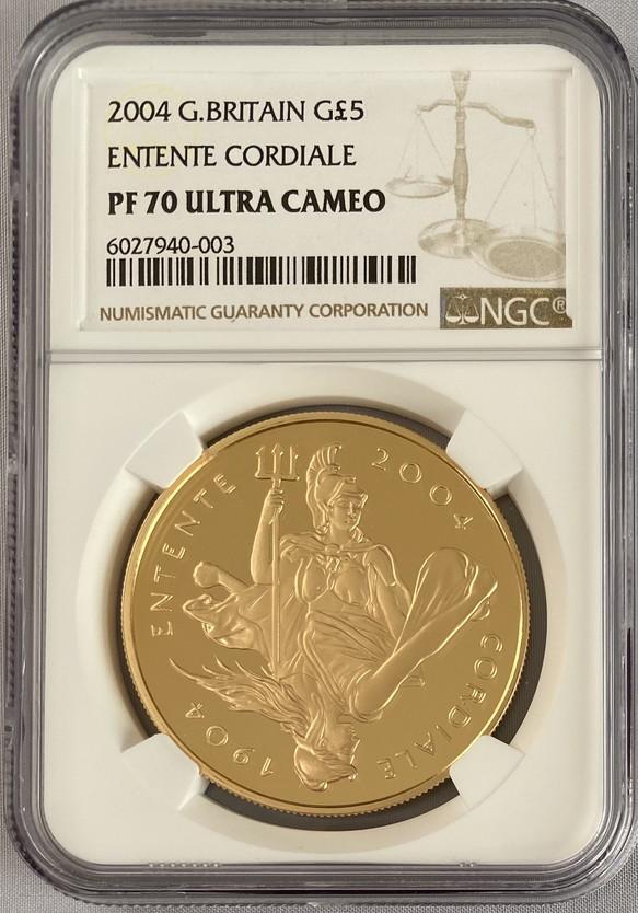 グレートブリテン2004年英仏協定100周年記念1オンス5ポンドプルーフ金貨NGC-PF70UCAM