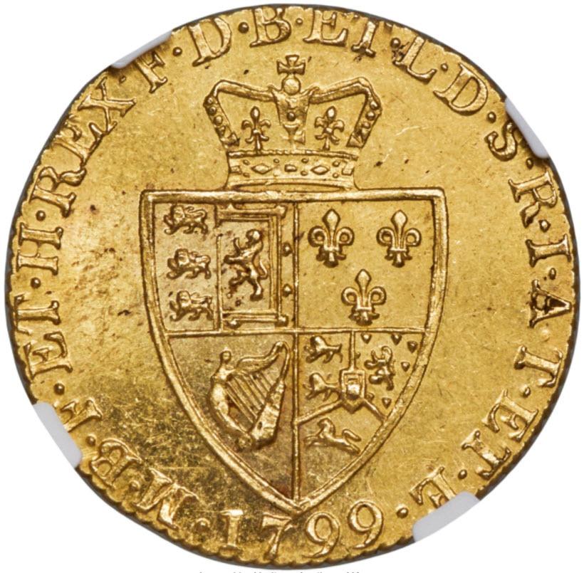 グレートブリテン ジョージ3世 1799年1ギニー金貨NGC-MS61