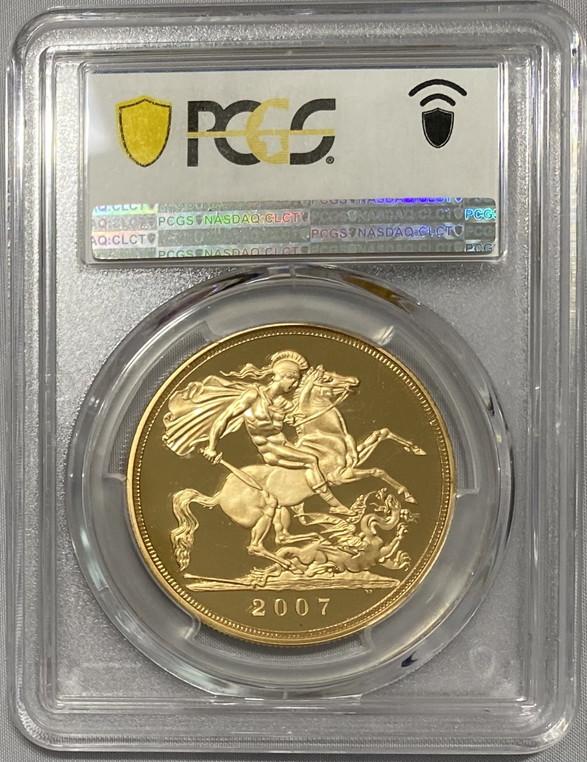 【動画あり】グレートブリテン2007年エリザベスII世5ポンドプルーフ金貨PCGS-PR70DCAM