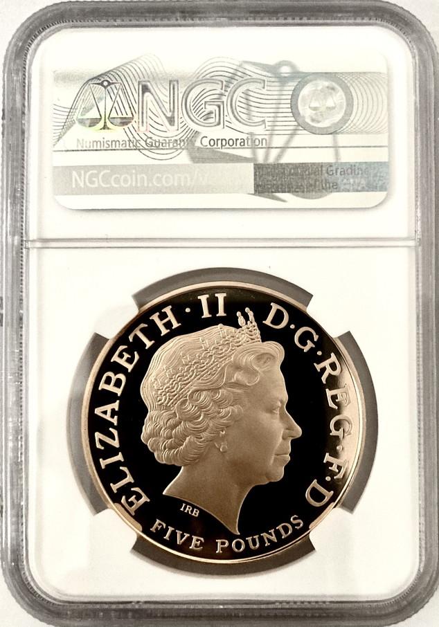 グレートブリテン2006年エリザベスII世80歳バースデイ5ポンドプルーフ金貨NGC-PF70UCAM