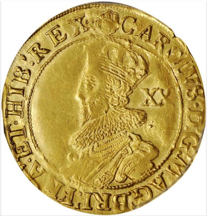 グレートブリテン1631-32年チャールズ1世ゴールド・ユナイト金貨PCGS-AU58