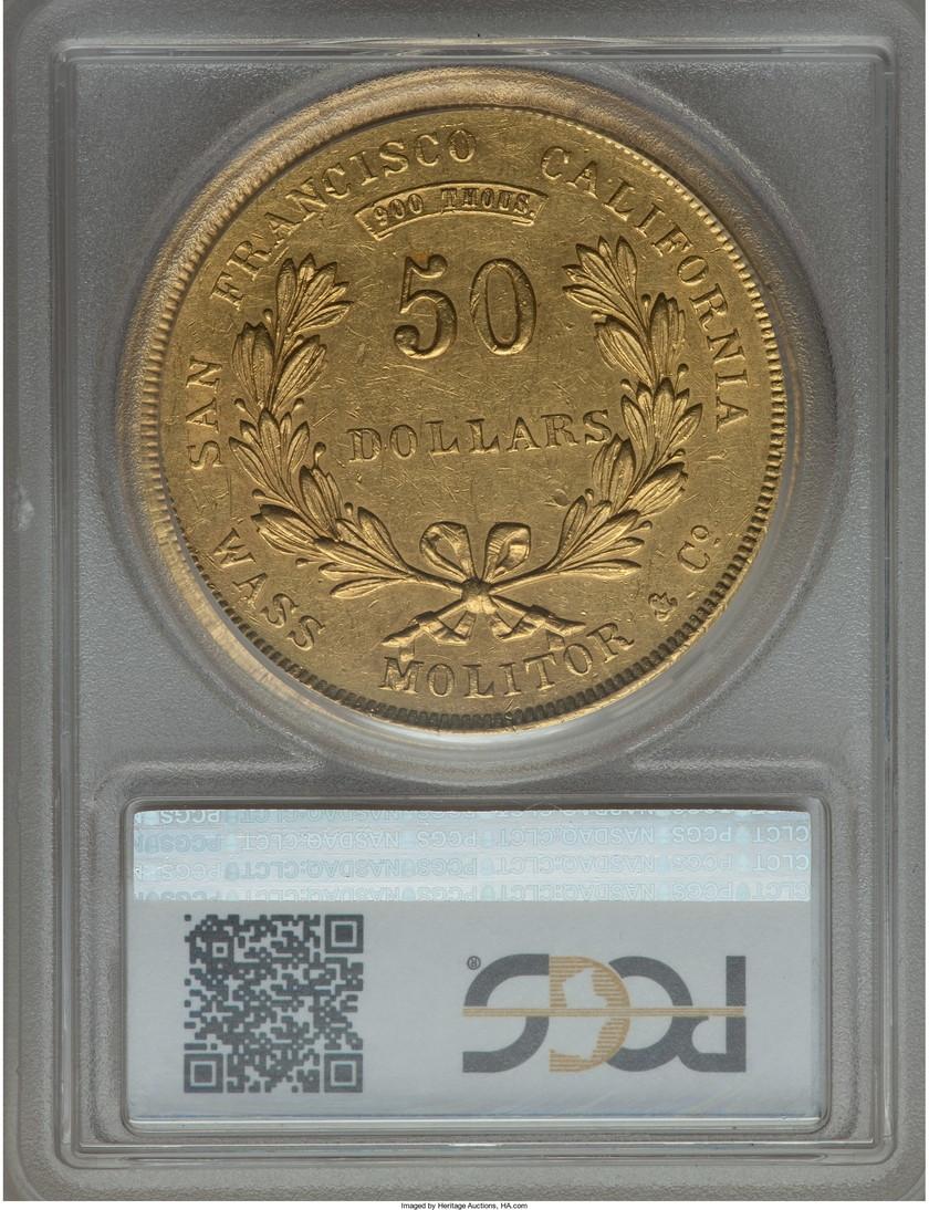 アンティークコイン アメリカ1855年Wass Molitor50ドル PCGS AU58