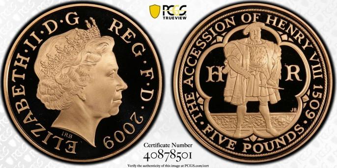 【動画あり】グレートブリテン2009年ヘンリー8世生誕500周年記念1オンス5ポンドプルーフ金貨PCGS-PR70DCAM箱付き40878501