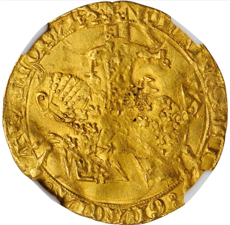 アンティークコイン フランス-フランシュヴァル金貨(1350-64) ジャンII世-NGC-MS-61