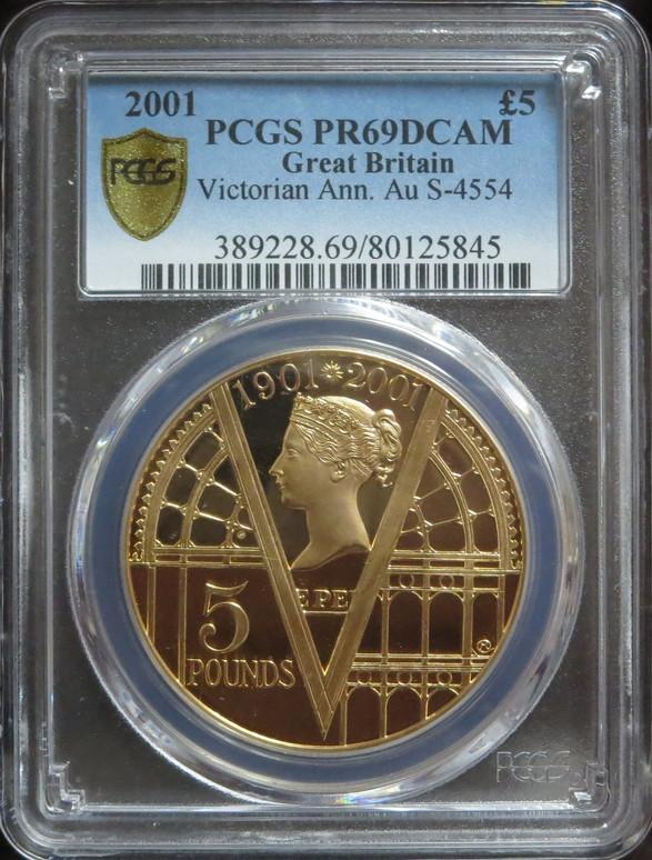 グレートブリテン2001年エリザベスII世 ヴィクトリア没後100年 5ポンドプルーフ金貨PR69DCAM PCGS