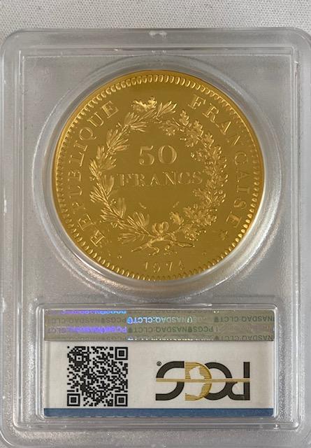 フランス金貨 リパブリックプルーフ金貨gold 50 Francs 1974 SP65 PCGS