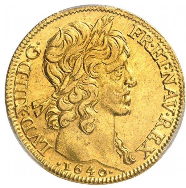 フランス 1640年 ルイ13世2ルイドール金貨 1640A PCGS-MS61