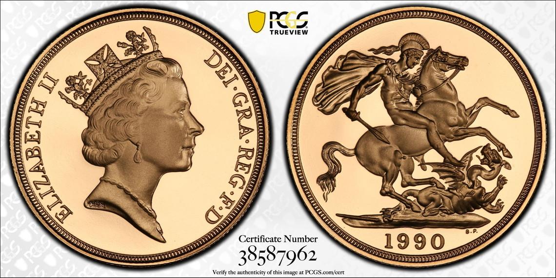【動画あり】1990グレートブリテン 2ポンド(2ソブリン)金貨PCGS PR70DCAM