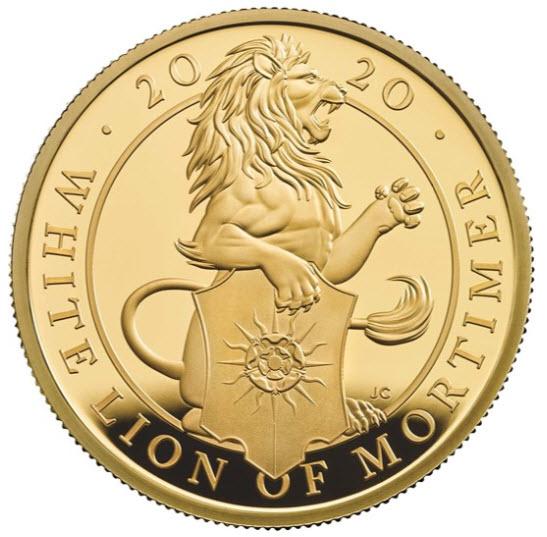 グレートブリテン クイーンズビースト 2020年 ホワイトライオン100ポンド純金プルーフ金貨PCGS-PR70DCAM