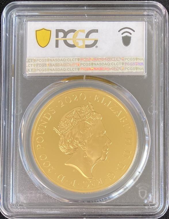 グレートブリテン 2020年 エリザベスII世 2オンス 200ポンドプルーフ純金金貨 ジェームズボンド2ndペイアテンション007PCGS-PR70DCAM