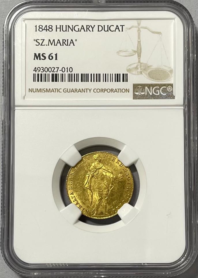 【動画あり】ハンガリー 1848年 フェルディナント5世 1ダカット金貨 NGC-MS61