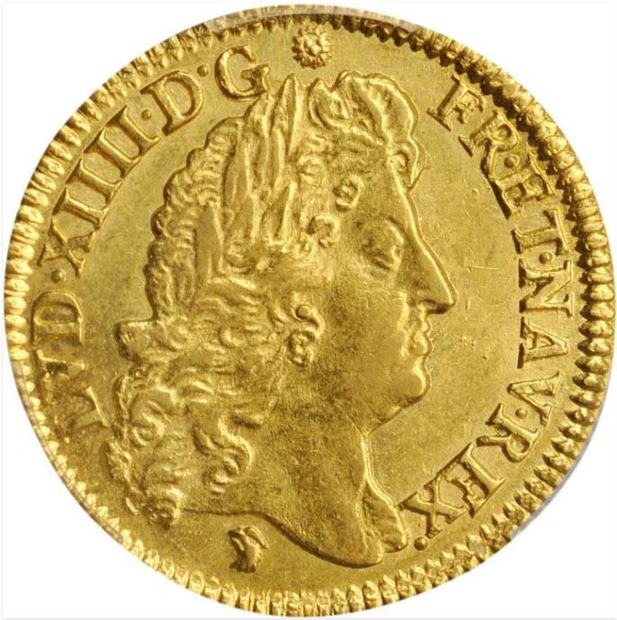 フランス1690-D年ルイ14世1ルイドール金貨PCGS-MS63