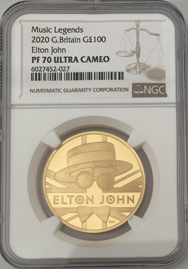 グレートブリテン2020年音楽の伝説シリーズエルトンジョン1オンス100ポンドプルーフ金貨NGC-PF70UCAM