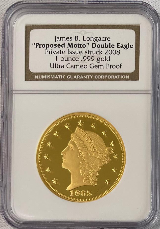 2008年ダブルイーグル1865年モチーフ$20金貨パターンプルーフ NGC GEM PROOF ULTRA CAMEO