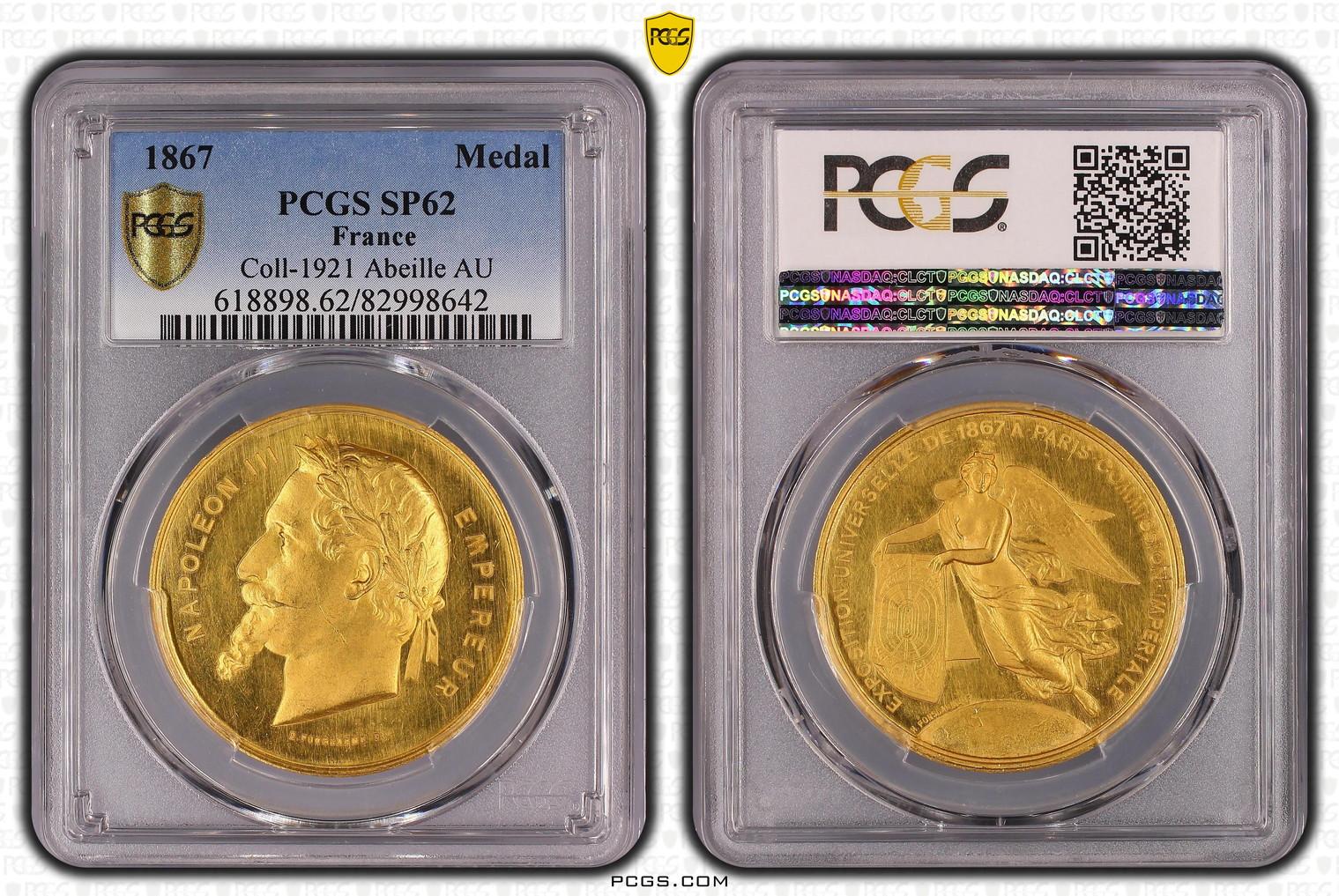 【動画あり】1867年ナポレオン ゴールドメダルPCGS SP62