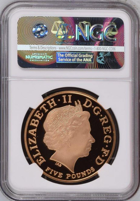 グレートブリテン2002年クイーンエリザベスI世戴冠450周年5ポンド金貨NGC-PF70UCAM