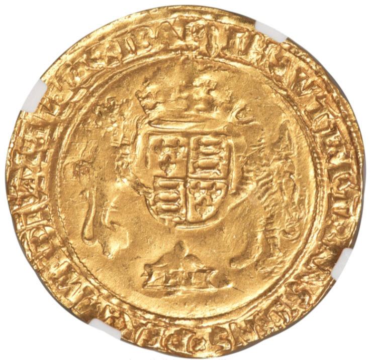 グレートブリテンエドワード6世ヘンリー8世名義1547-49年1/2ソブリン金貨NGC-MS62