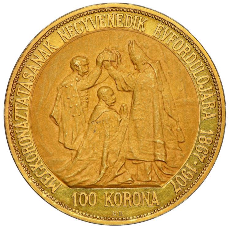 【動画あり】ハンガリー 1907年 フランツ・ヨーゼフ1世 戴冠式記念 100コロナ金貨 NGC MS64