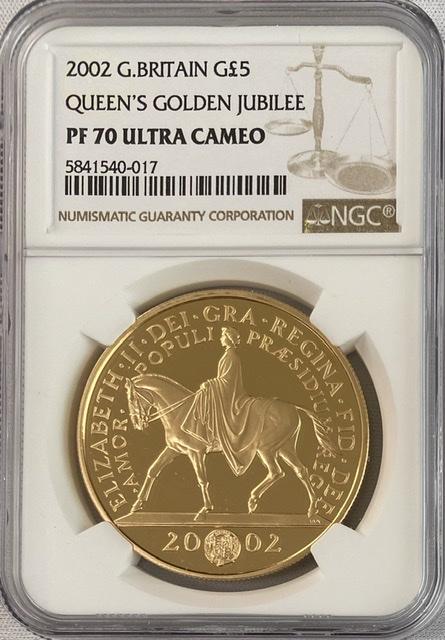 【動画あり】グレートブリテン2002年馬上のエリザベスII世ゴールデンジュビリーヘッド5ポンドプルーフ金貨NGC-PF70UCAM箱付き