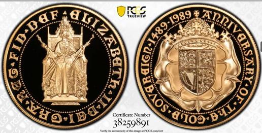 【動画ありトップグレード】1989年グレートブリテン エリザベス2世 500周年記念 5ポンド金貨 PCGS PR70DCAM38259891